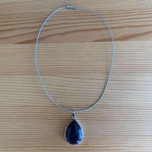 Jewelry - Natural Blue Sandstone Silver Gem Pendant Choker